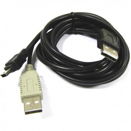 Cable USB 2.0 de doble alimentación 2AM a mini USB 1.2m