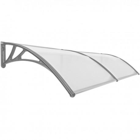 Tejadillo de protección 240x100cm Marquesina para puertas y ventanas gris