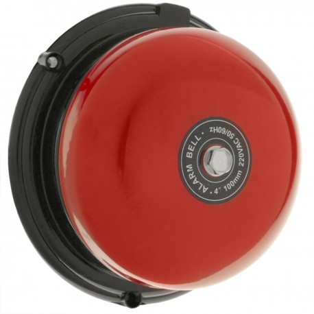 Timbre eléctrico 220 VAC de campana roja 100mm para alarma