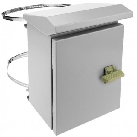 Caja de distribución eléctrica metálica con protección IP65 para fijación a poste 200 x 250 x 150 mm