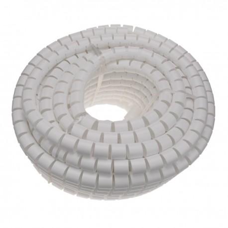 Organizador de cables. Funda blanca con clip de 25-30 mm longitud 25 m