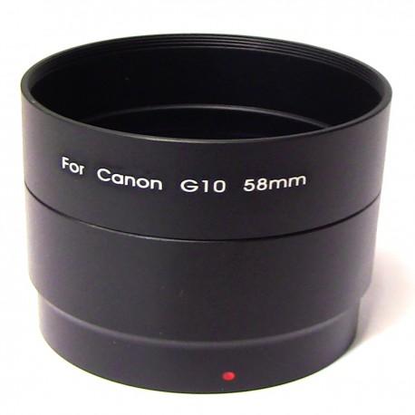 Tubo adaptador para objetivo Canon EOS G10 58mm