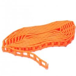 Cadena de plástico naranja para enrollador de fondos de estudio fotográfico