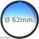 Filtro fotografia color gradual azul para objetivo de 62 mm