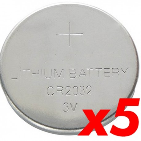 Pila litio botón 3V CR2032 5 unidades