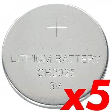 Pila litio botón 3V CR2025 5 unidades