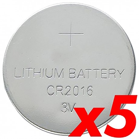 Pila litio botón 3V CR2016 5 unidades
