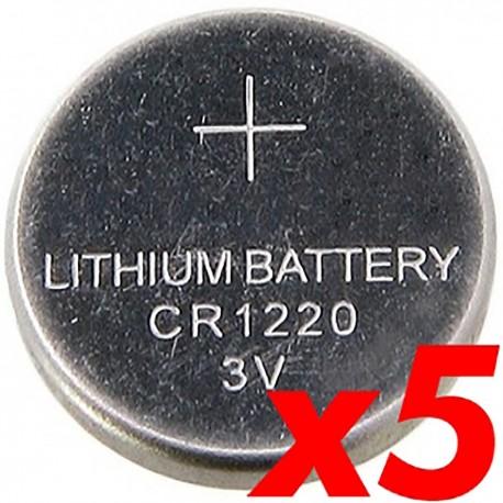 Pila litio botón 3V CR1220 5 unidades