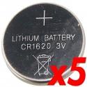 Pila litio botón 3V CR1620 5 unidades