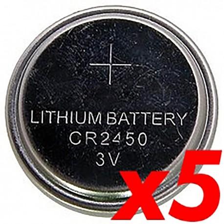 Pila litio botón 3V CR2450 5 unidades