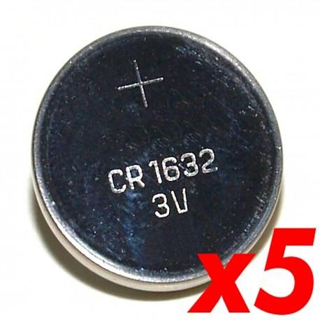 Pila litio botón 3V CR1632 5 unidades