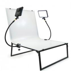 Mesa de plexiglas para bodegones de 115 x 60 cm plegable con focos LED de 12W
