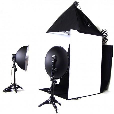 Estudio fotográfico portátil de 60cm con softbox y focos