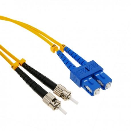 Cable de fibra óptica ST a SC monomodo duplex 9/125 de 3 m OS2