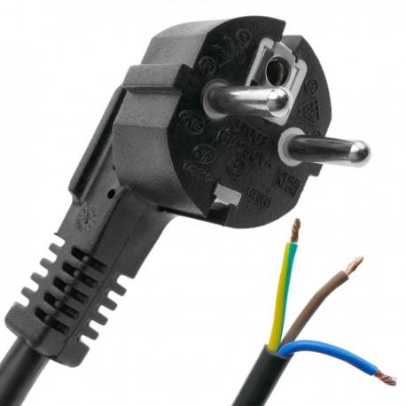 Cable de alimentación eléctrico H05VV-F 1 m de enchufe schuko a bornes 3x1.50mm²