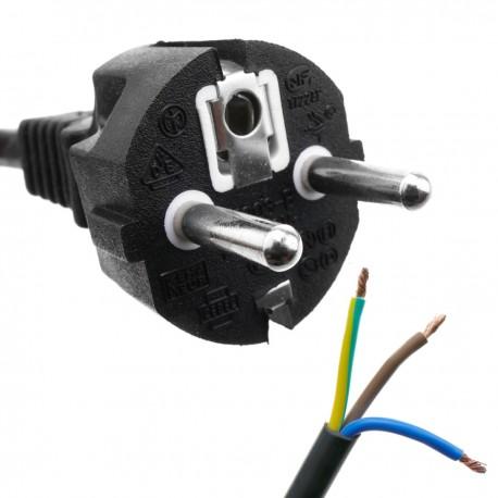 Cable de alimentación eléctrico H05VV-F 3m de enchufe schuko recto a bornes 3x1.50mm²