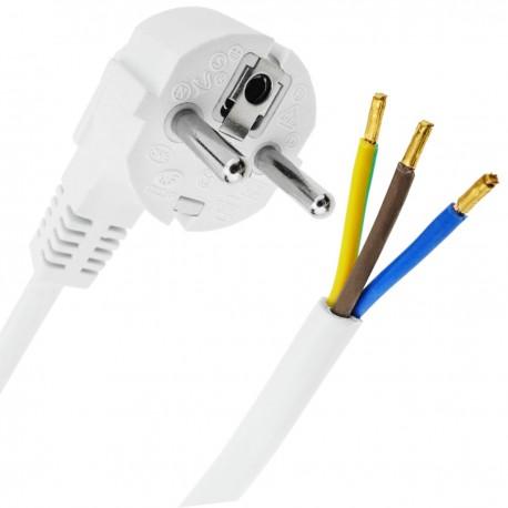 Cable de alimentación eléctrico H05VV-F 3m de enchufe schuko a bornes 3x1.50mm² blanco