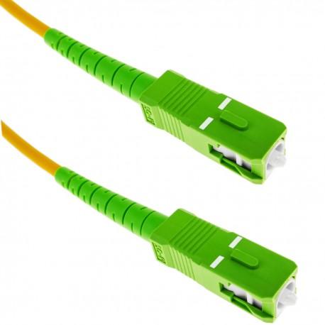 Cable de fibra óptica SC/APC a SC/APC monomodo SMF SX OS2 simplex 9/125 blindado amarillo de 15 m