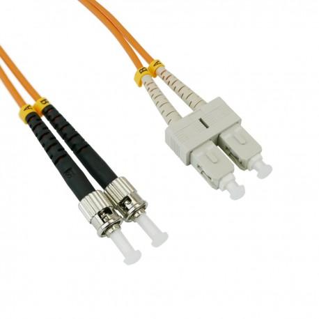 Cable de fibra óptica ST a SC multimodo duplex 62.5/125 de 25 m
