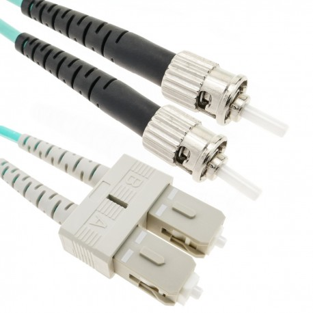 Cable de fibra óptica OM4 multimodo MMF duplex 50µm/125µm ST-SC de 3m