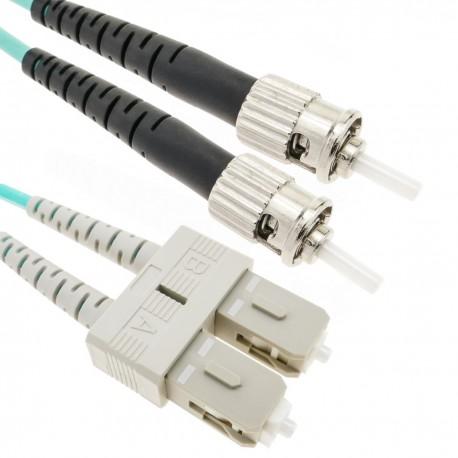 Cable de fibra óptica OM4 multimodo MMF duplex 50µm/125µm ST-SC de 20m