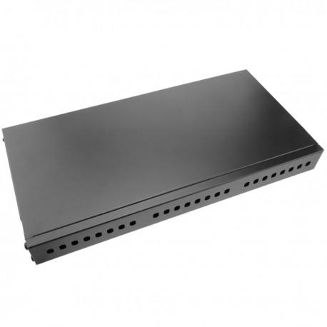Patch Panel de fibra óptica 1U negro de 24 ST