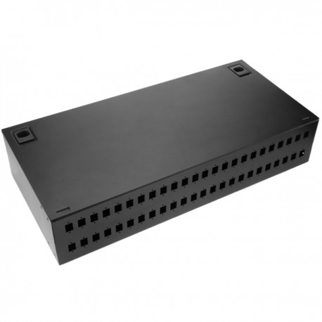 Patch Panel de fibra óptica 2U negro de 48 SC