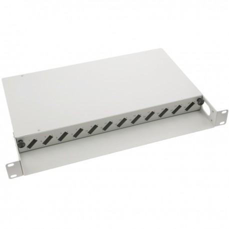 Patch Panel de fibra óptica 1U beige de 12 SC duplex