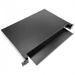 Patch Panel de fibra óptica 1U negro extraíble de 12 SC