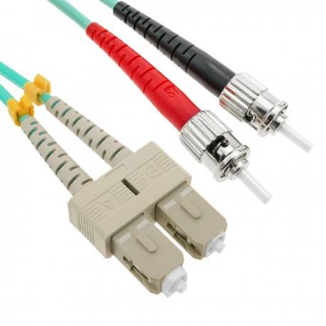 Cable OM3 de fibra óptica ST a SC multimodo duplex 50/125 de 25m