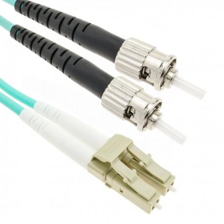 Cable OM3 de fibra óptica LC a ST multimodo duplex 50/125 de 3m