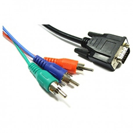 Cable Vídeo RGB 3xRCA-M a VGA (HD15-M) 5m