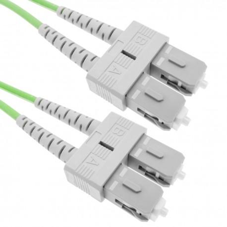 Cable de fibra óptica OM5 multimodo duplex 50µm/125µm SC/PC a SC/PC 100Gb de 20 m