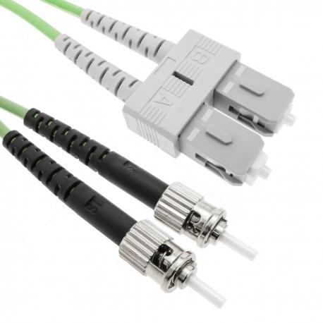 Cable de fibra óptica OM5 multimodo duplex 50µm/125µm ST/PC a SC/PC 100Gb de 5 m