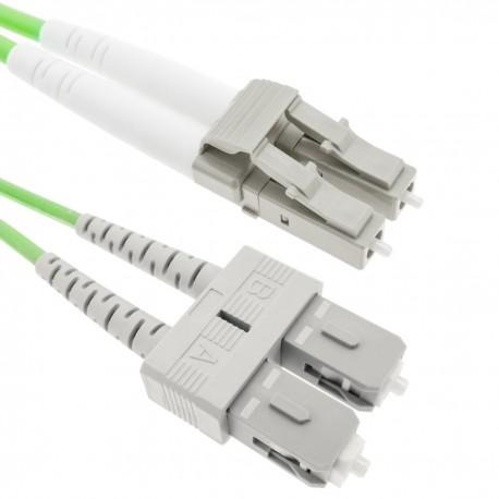 Cable de fibra óptica OM5 multimodo duplex 50µm/125µm LC/PC a SC/PC 100Gb de 50 cm