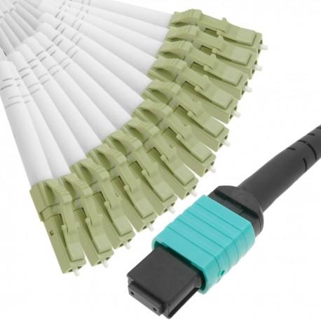 Cable Fanout de fibra óptica OM3 multimodo 50µm/125µm MTP/PC a 12 x LC/PC 10Gb de 5 m