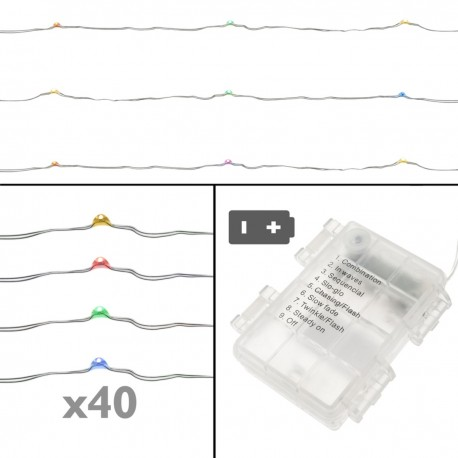 Tira de luces decorativas de 40 luces LED IP44 y 8 funciones RGB 3 m a pilas