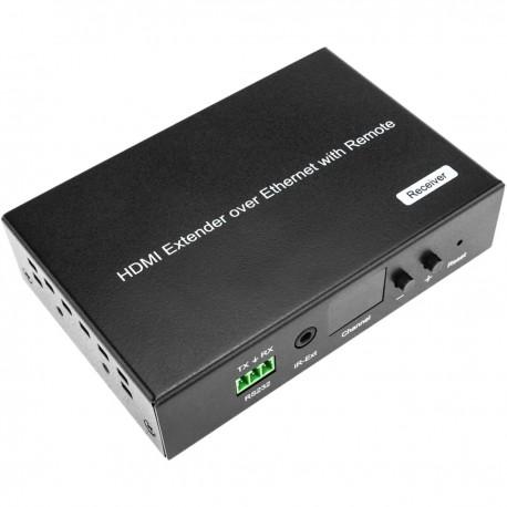 Extensor HDMI 1080p a través de cable ethernet Cat.5e Cat.6 120m - Receptor Control remoto H.264