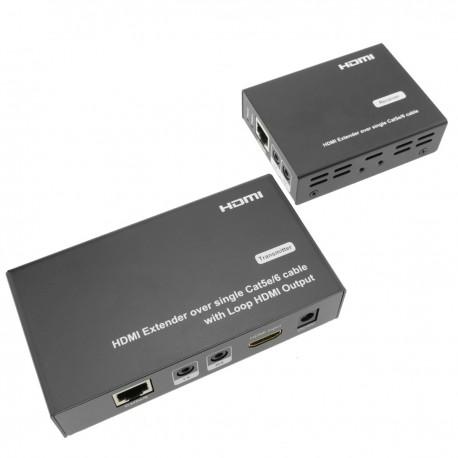 Extensor HDMI Prolongador FullHD 1080p a través de cable ethernet Cat.5e Cat.6 50m - Tx y Rx