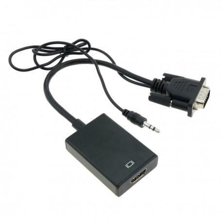 Conversor VGA a HDMI con audio y cable de alimentación USB