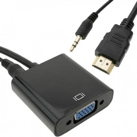 Conversor HDMI a VGA con audio estéreo analógico