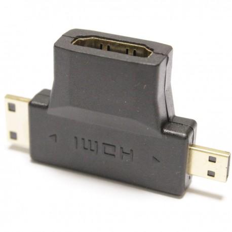 Adaptador HDMI de tipo HDMI-A hembra a HDMI-C-D macho