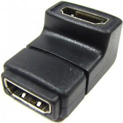 Adaptador HDMI de tipo HDMI-A hembra a HDMI-A hembra acodado