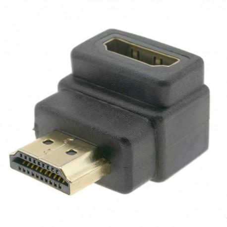 Adaptador HDMI de tipo HDMI-A macho a HDMI-A hembra acodado abajo