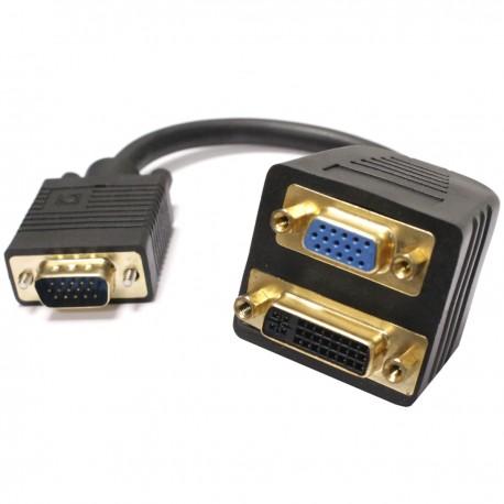 Cable duplicador pasivo de VGA a VGA y DVI-I