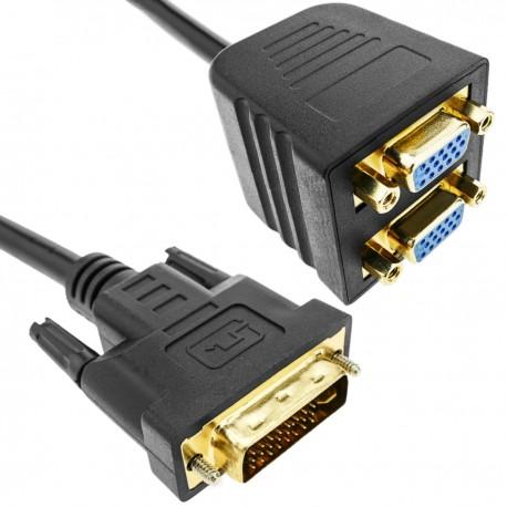 Cable duplicador pasivo de 1 DVI a 2 VGA