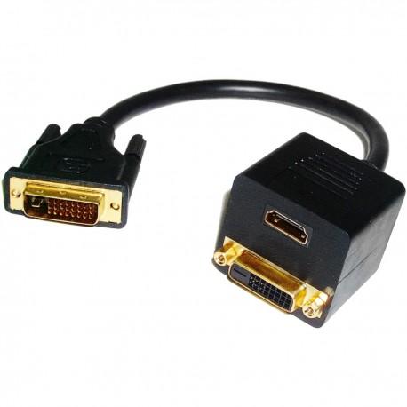 Cable duplicador pasivo de 1 DVI a 1 DVI y 1 HDMI