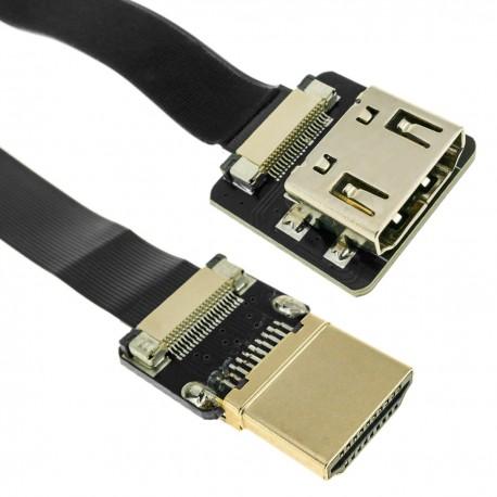 Cable vídeo HDMI plano FPV 50 cm A-macho a A-hembra