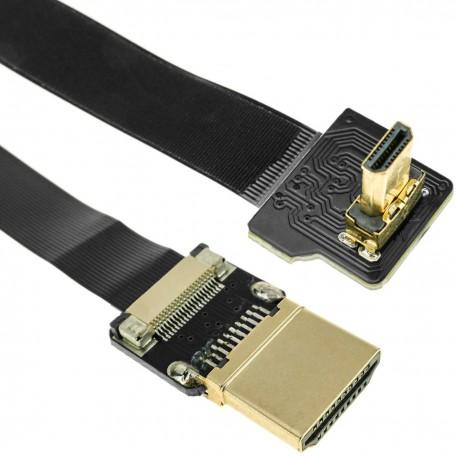 Cable vídeo HDMI plano FPV 20 cm A-macho a micro D-macho con ángulo