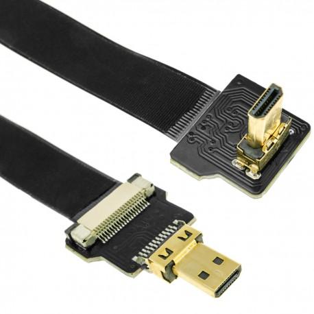 Cable vídeo HDMI plano FPV 20 cm micro D-macho a micro D-macho con ángulo